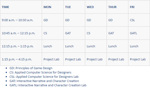 Pre-College Game Design Schedule
